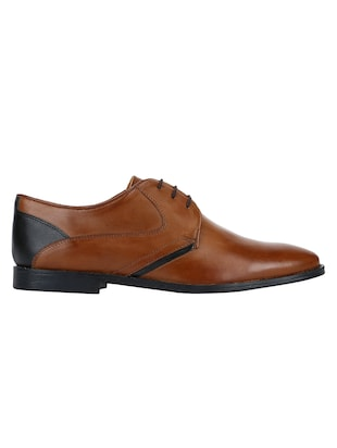 tan Leather lace-up derbys - 15613355 - Standard Image - 2