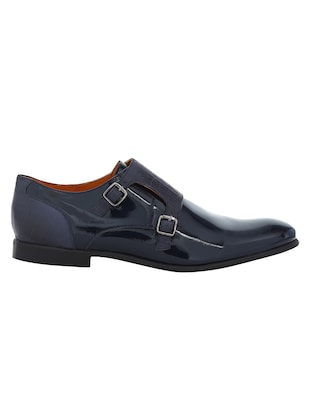 navy Patent Leather slip on monk straps - 15613371 - Standard Image - 2