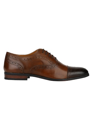 tan Leather lace-up oxfords - 15613374 - Standard Image - 2