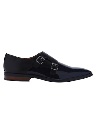 navy Patent Leather slip on monk straps - 15613376 - Standard Image - 2