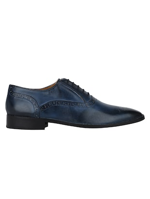 navy Leather lace-up oxfords - 15613379 - Standard Image - 2