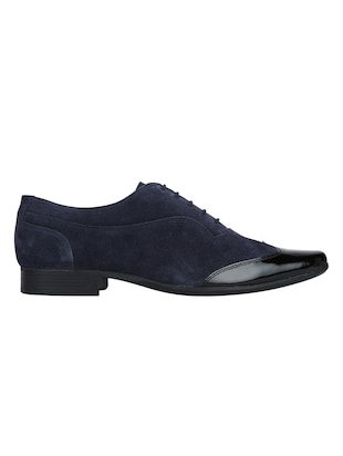 navy Suede lace-up brouges - 15613387 - Standard Image - 2