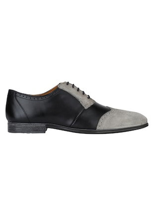 black Leather lace-up brouges - 15613390 - Standard Image - 2