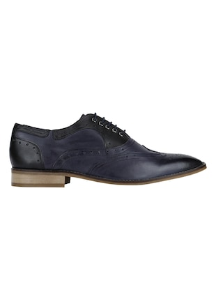 navy Leather lace-up brouges - 15613398 - Standard Image - 2