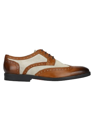 tan Leather lace-up derbys - 15613423 - Standard Image - 2
