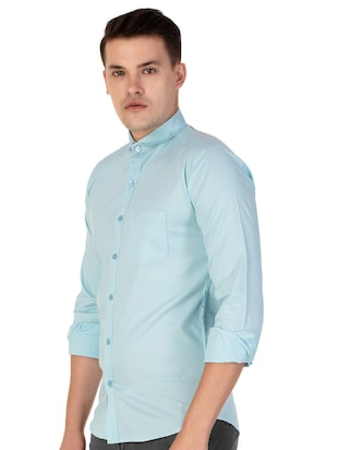 blue cotton casual shirt - 15613437 - Standard Image - 2