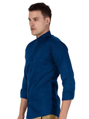 blue cotton casual shirt - 15613444 - Standard Image - 2