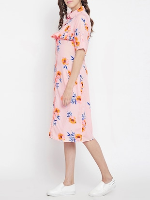 frill detail floral shirt dress - 15613533 - Standard Image - 2