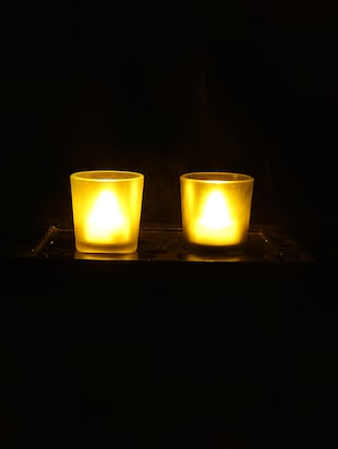 Hand Crafted Glass Votives with wooden Tray - 15614329 - Standard Image - 2