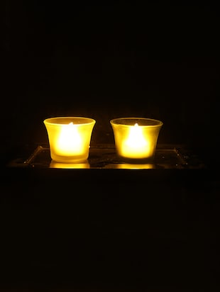 Hand Crafted Glass Votives with wooden Tray - 15614334 - Standard Image - 2
