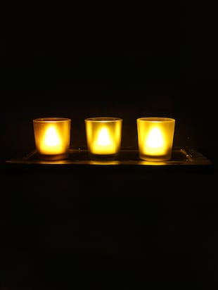 Hand Crafted Glass Votives with wooden Tray - 15614335 - Standard Image - 2