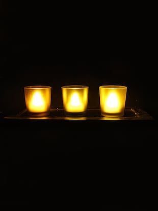 Hand Crafted Glass Votives with wooden Tray - 15614337 - Standard Image - 2