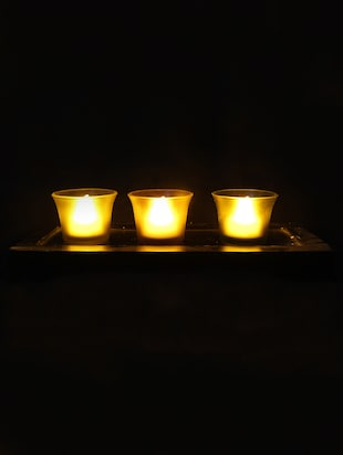 Hand Crafted Glass Votives with wooden Tray - 15614339 - Standard Image - 2