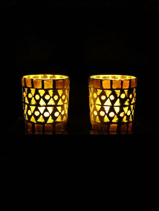 Hand Crafted Glass Votives with wooden Tray - 15614353 - Standard Image - 2