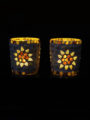 Hand Crafted Glass Votives with wooden Tray - 15614357 - Standard Image - 2