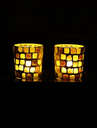 Hand Crafted Glass Votives with wooden Tray - 15614358 - Standard Image - 2