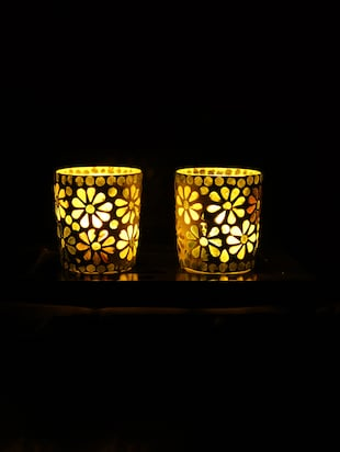Hand Crafted Glass Votives with wooden Tray - 15614362 - Standard Image - 2