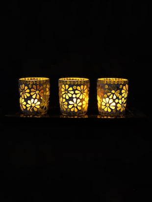Hand Crafted Glass Votives with wooden Tray - 15614378 - Standard Image - 2