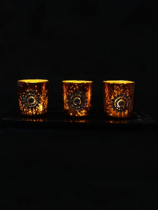 Hand Crafted Glass Votives with Silver Coated Broach - 15614381 - Standard Image - 2