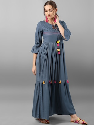 Flared dress with tassels - 15614664 - Standard Image - 2