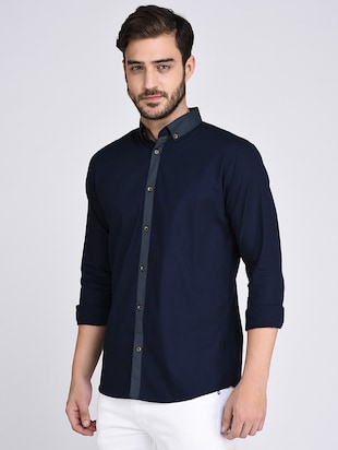 navy blue cotton casual shirt - 15614737 - Standard Image - 2