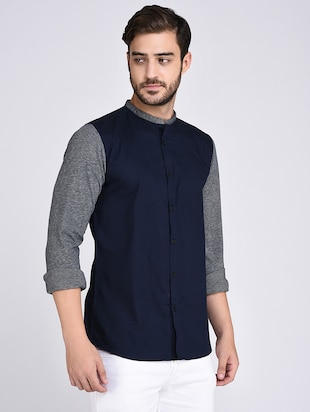blue cotton casual shirt - 15614745 - Standard Image - 2