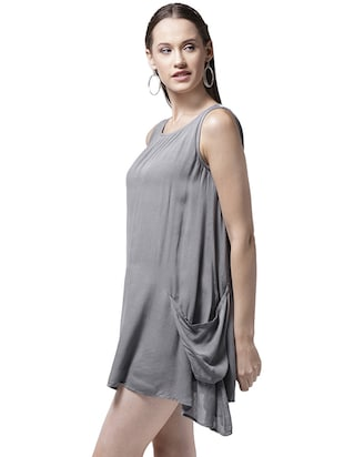 pocket detail asymmetric dress - 15615400 - Standard Image - 2