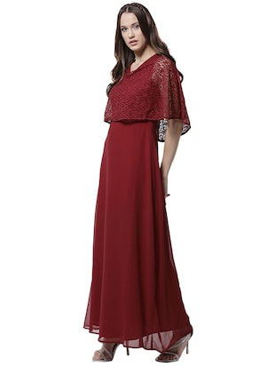 v neck lace overlay maxi dress - 15615418 - Standard Image - 2