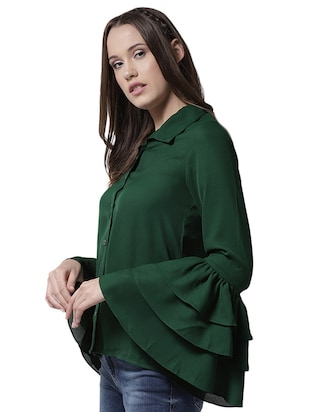 layered bell sleeved shirt - 15615425 - Standard Image - 2