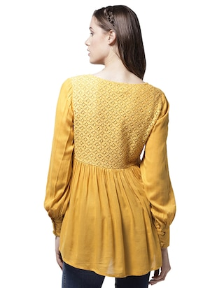 lace yoke gather detail asymmetric top - 15615432 - Standard Image - 2