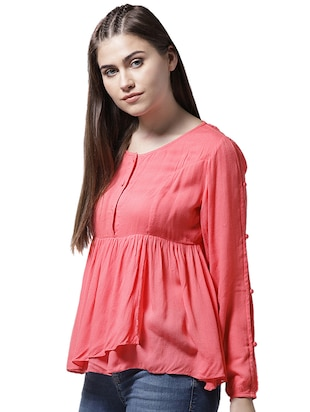 button closure sleeve gathered top - 15615435 - Standard Image - 2