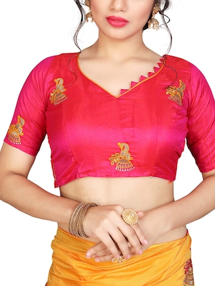 conversational mustard embroidered saree with blouse - 15615585 - Standard Image - 2