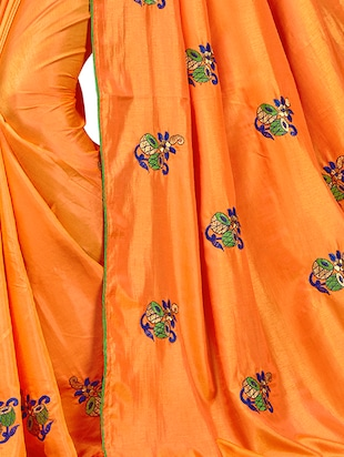 conversational orange embroidered saree with blouse - 15615597 - Standard Image - 2