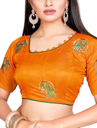conversational green embroidered saree with blouse - 15615607 - Standard Image - 2