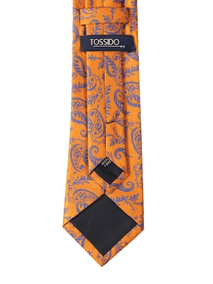 orange micro fiber tie with cufflink and pocketsquare - 15615760 - Standard Image - 2