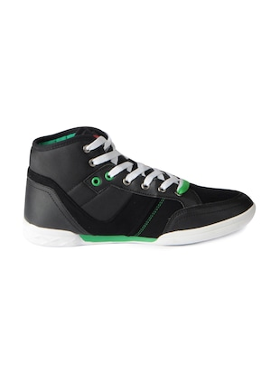 black leatherette lace up sneakers - 15616051 - Standard Image - 2