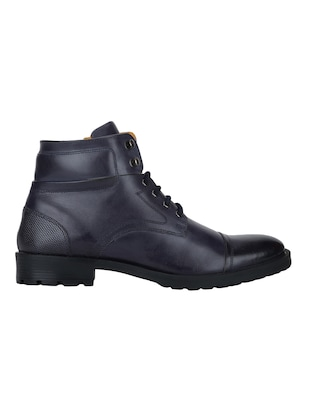 navy Leather high ankle boots - 15616448 - Standard Image - 2