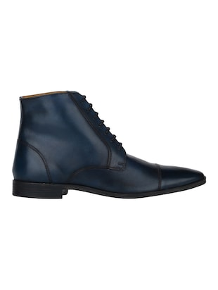 navy Leather high ankle boots - 15616473 - Standard Image - 2