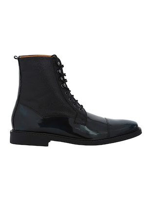 navy Leather high ankle boots - 15616479 - Standard Image - 2