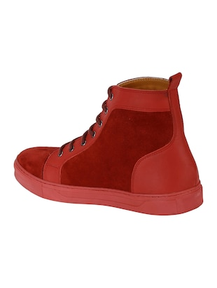 red Suede lace up sneakers - 15616511 - Standard Image - 2