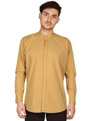 beige cotton casual shirt - 15616552 - Standard Image - 2