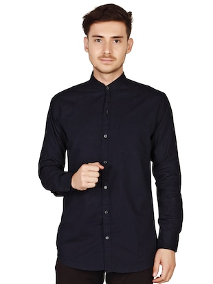 navy blue cotton casual shirt - 15616553 - Standard Image - 2