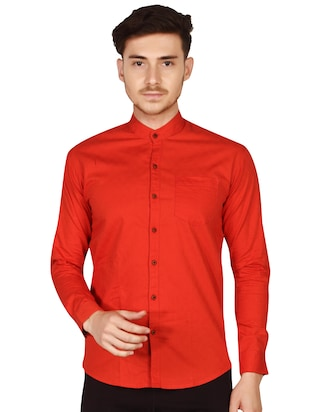 red cotton casual shirt - 15616556 - Standard Image - 2