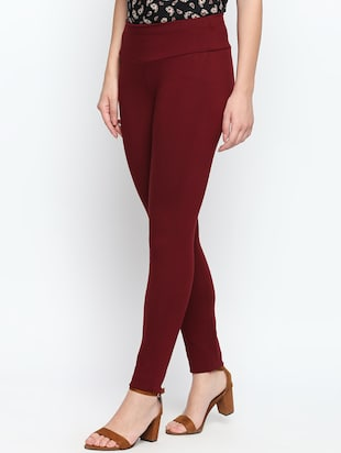 maroon solid high rise jegging - 15616871 - Standard Image - 2