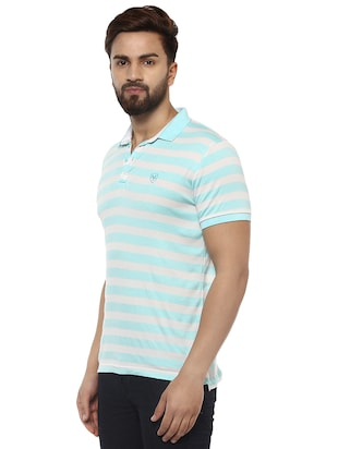 blue cotton blend polo t-shirt - 15619663 - Standard Image - 2