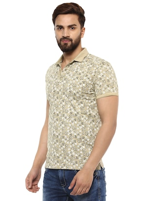 beige cotton all over print t-shirt - 15619668 - Standard Image - 2