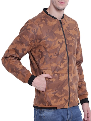 brown nylon casual jacket - 15619879 - Standard Image - 2