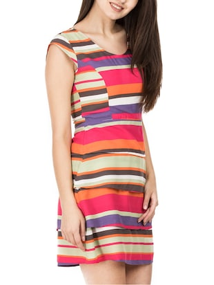 tiered striped a-line dress - 15620615 - Standard Image - 2