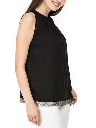 pleat detail neck sequined hem top - 15620633 - Standard Image - 2