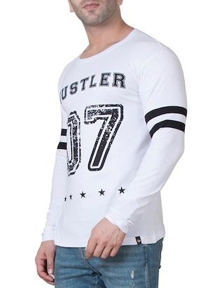 white cotton front print t-shirt - 15620652 - Standard Image - 2